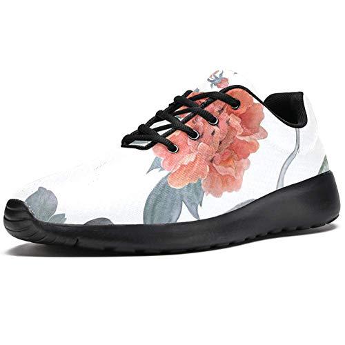 TIZORAX Laufschuhe für Damen, chinesische Pfingstrosen und fliegende Kraniche, modische Sneaker, Netzstoff, atmungsaktiv, Wandern, Tennisschuh, Mehrfarbig - mehrfarbig - Größe: 40 EU