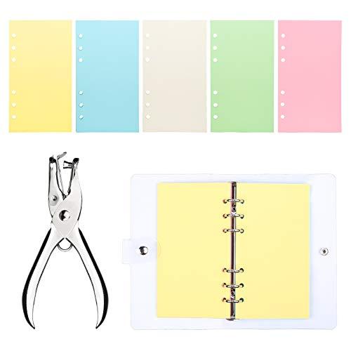 Cuaderno A6 de 6 anillas, bloc de notas transparente de PVC suave, rellenable, con núcleo de color (vacío)