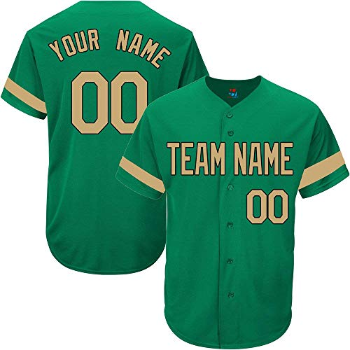 Green Custom Baseball Jersey for Men Women Kids Full Button Mesh Embroidered Team Name & Numbers S-5XL image