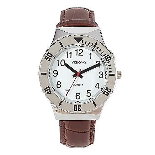 Reloj parlante analógico con alarma, anuncio de hora y fecha en francés, para ciegos y personas con discapacidad visual, correa de piel marrón TFBW-1602F
