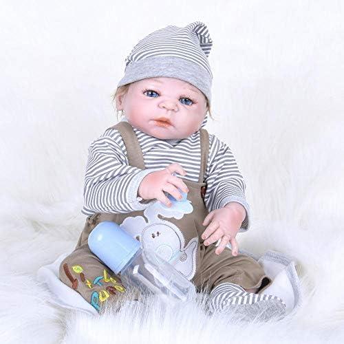 Hongge Reborn Baby Doll,Lebensechte Silikon Reborn Puppe lebensecht Wiedergeburt Baby Spielzeug Weißnachten Geburtstagsgeschenk 55cm
