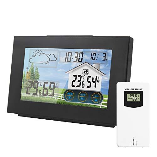 FreeLeben Wetterstationen Wireless Elektronische Wetterstation Digitale Thermometer Hygrometer Drahtloser Innen- und Außenbereich mit Alarm Großer LCD-Farbbildschirm/Wettervorhersage/Berührungstaste