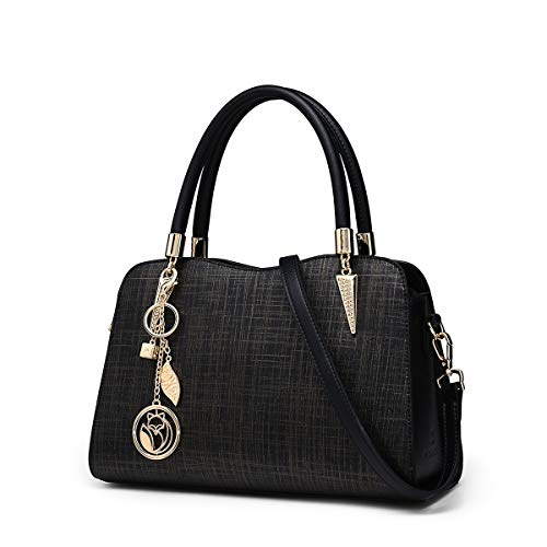 Leather Handbags for Women, Genuine Leather Ladies Fashion Top-handle Bags with Adjustable Shoulder Strap Women
