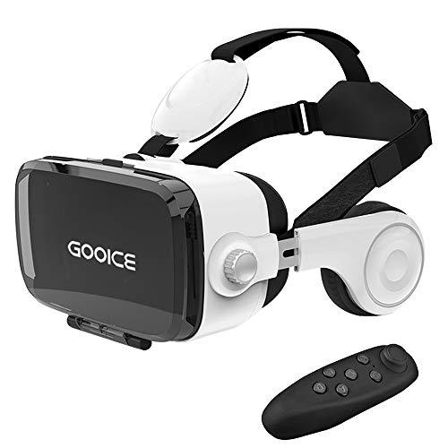 「2020改進版」Gooice VRゴーグル VRヘッドセット イヤホン3D動画 ゲーム 映画 映像 効果 4.7〜6.2インチ iPhone android などのスマホ対応「Bluetoothリモコン付属」