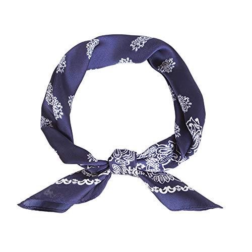 Lusm Silk Feeling Square Scarf for Women Fashion Hair Scarves Neckerchief Beach Bandana Satin Headscarf Navy Paisley