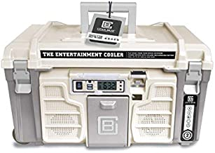 Coolbox: the Entertainment Cooler, Built-in Bluetooth Speakers, Portable and Insulated Ice Chest on Wheels for Travel, Picnics and Camping (White)