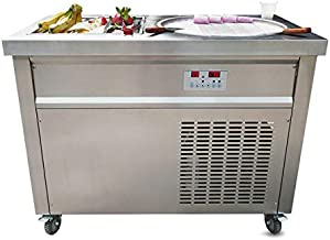 single round 50cm pan + 6 pre-cooling buckets auto defrost instant roll ice cream machine instant fry ice cream machine with sneeze guard and full refrigerant