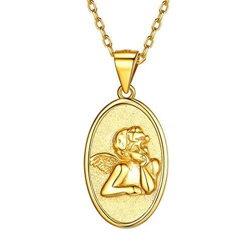 ChicSilver Relieve Medalla Ovalada Oro Amarillo Falso Efecto Ahilado Scrub Esmerilado Collar Buena para Madre Novia Hija