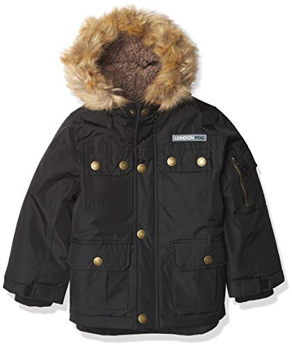 LONDON FOG Boys' Warm Winter Coat Parka with Cozy Trimmed Hood, Black Solid Radiance, 14/16