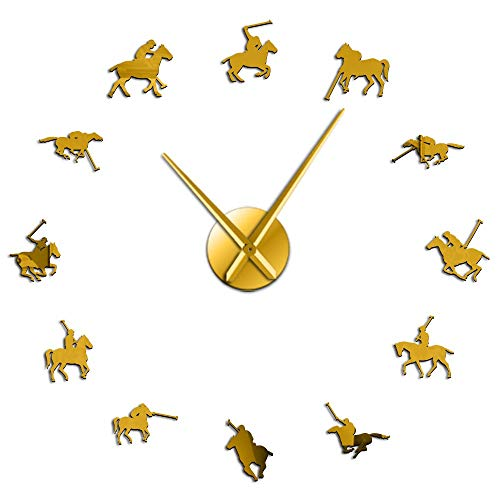Polo Sport Pony Match Art - Reloj de pared gigante para montar a caballo, sin marco, gran reloj de pared (dorado, 68,56 cm)