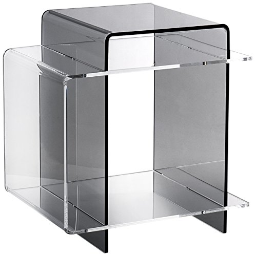 Iplex Design 70's Comodino/Tavolino in Plexiglass, fumé Trasparente/Trasparente