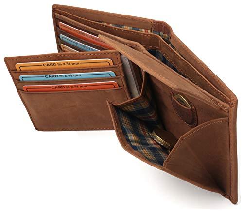 Fa.Volmer ® Stabile braune Herren-Ledergeldbörse aus echtem Büffel-Leder mit RFID-Schutz #VO22 (Braun)