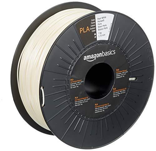 Amazon Basics - Filamento para impresora 3D, ácido poliláctico (PLA), 1.75 mm, cinta de 1 kg, blanco perla