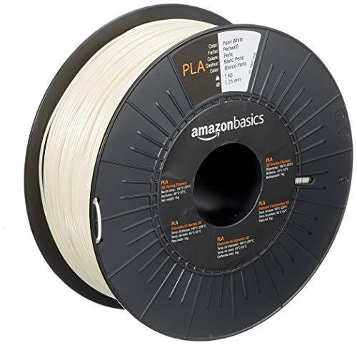 AmazonBasics PLA 3D Printer Filament, 1.75mm, Pearl White, 1 kg Spool