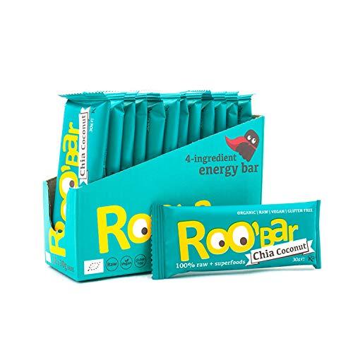 Roobar Rohkostriegel Chia & Kokos – Milchfrei & Glutenfrei, 100{986d78651f53c2b151877a3d3debe37c835100acdcd86801153dfa9d9637cefe} Bio, Vegan, Superfoods für eine optimale Ernährung, Ohne Zusatz von raffiniertem Zucker – 12 x 30g Riegel in einer Box