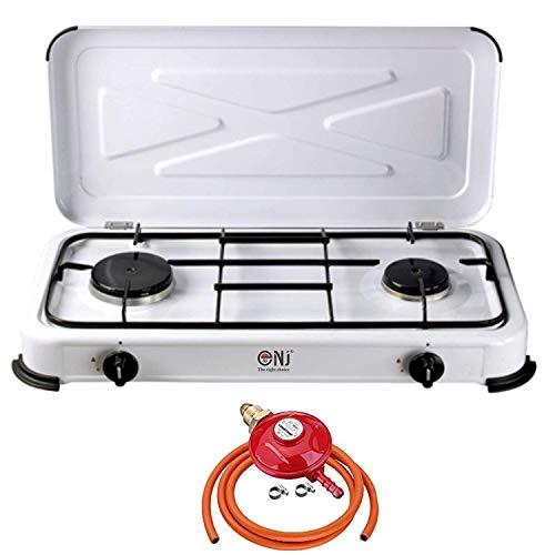 NJ-02 Portable Double Gas Stove Enamel 2 Burner Hob Lid Camping Outdoor LPG