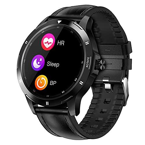 ZGZYL Reloj Inteligente De Deportes para Hombres con Monitor De Frecuencia Cardíaca/Presión Arterial / SPO2 Monitor/Pedómetro Trucidador De Fitness Bluetooth Smart Watch iOS Android,B
