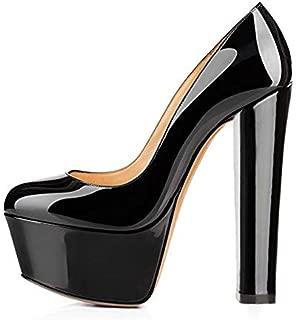 Women's Platform Round Toe Block Chunky High Heels Office Party Wedding Pumps Sandals
