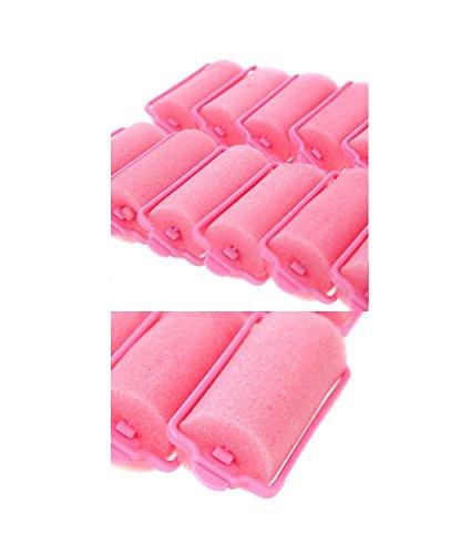 Set of 16 Large Size Pink Foam Sponge Hair Rollers