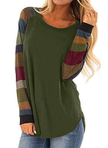 BLENCOT Womens Casual Rond Neck Color Block Long Sleeve Flowy Loose Green Tunics Shirt and Blouse Tops Large