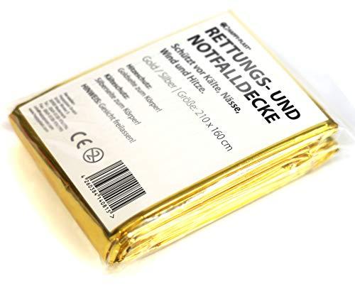 Happyplast Rettungsdecke 10er Set - 210x160cm - hält Wärme & Kälte ab - perfekte Ergänzung für den Erste-Hilfe-Kasten oder die Outdoor-Ausrüstung - Notfalldecke mit Gold- & Silber-Seite