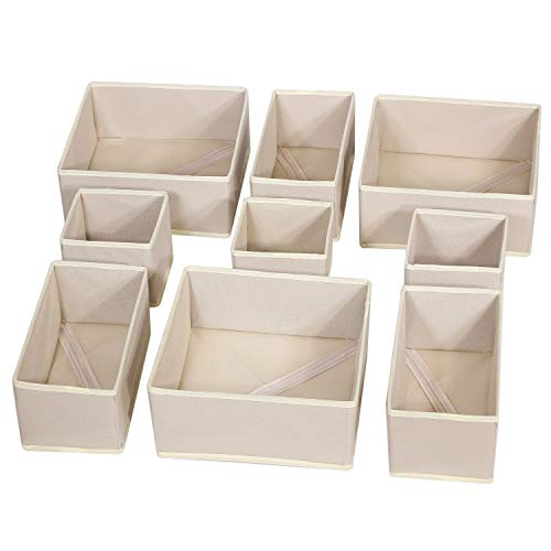 DIOMMELL 9 Pack Foldable Cloth Storage Box Closet Dresser Drawer Organizer Fabric Baskets Bins Containers Divider for Baby Clothes Underwear Bras Socks Lingerie Clothing,Beige 333