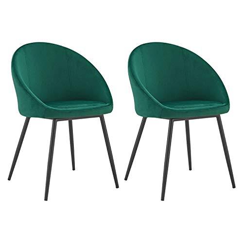 Velvet - Sillas Vintage de Terciopelo - Diseño Retro y Refinado - Asiento Suave y Respaldo Redondeado - Patas de Metal Fino - Verde - X2