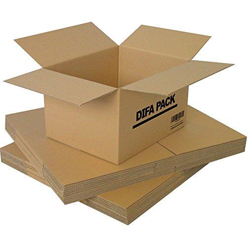 DIFA Pack de 12 Cajas de Cartón - Alta Calidad, Resistente - Cajas de Mudanza - Fabricadas en Europa - Tamaño 440 x 310 x 260 mm - Cajas Mudanza, Cajas Almacenaje, Cajas carton
