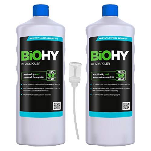BiOHY Klarspüler (2x1l Flasche) + Dosierer   Ökologisches Hochkonzentrat   Geeignet für alle (gewerblichen) Spülmaschinen, für unschlagbaren Glanz auf Gläsern & Geschirr   BIO-logisch abbaubar