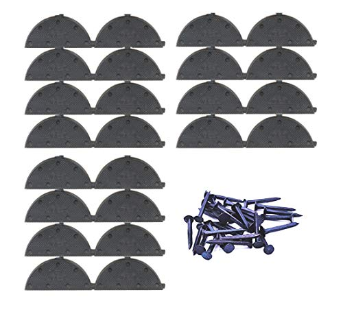 Heel Plates 24 PCS Rubber Shoes Heel Taps Tips Repair Pad Replacement Large Size with Nails