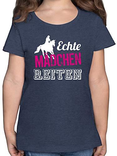 Sport Kind - Echte Mädchen reiten - 128 (7/8 Jahre) - Dunkelblau Meliert - Kinder Tshirt reiten - F131K - Mädchen Kinder T-Shirt