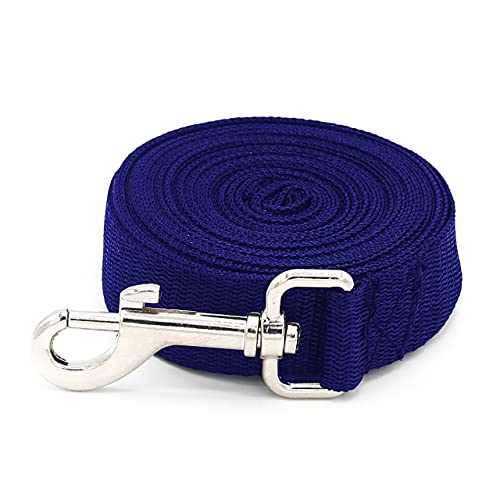 Dog Training Lead Leash Extra Long Line, 5m Nylon Leash for Large, Medium & Small Dogs - Great for Pet Recall Training Obedience, Running, Camping, Backyard Strong lead with Metal Component (Blue)