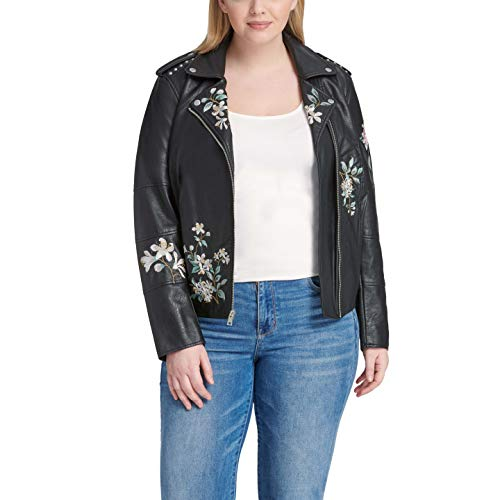 Faux Leather Classic Motorcycle Jacket (Regular and Plus Sizes)
