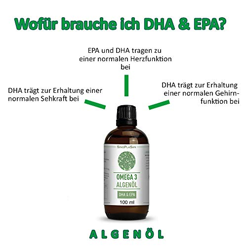 Omega 3 Algenöl, 998mg DHA & 535mg EPA pro 2.5ml, vegan, JETZT MIT TROPFER & allen ANALYSEN, 100 ml - 7
