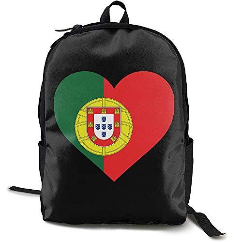 Kimi-Shop Bandera de Portugal en Forma de corazón Adulto Hombres Mujeres Unisex Viaje Mochila Estilo Divertido