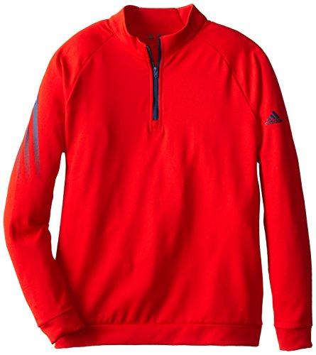 adidas Golf Boys 3 Stripes 1/2 Zip Shirt, Red/Night Marine, Medium