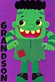 Pictura Cute Frankenstein in Green Clothing Juvenile Halloween Card for Grandson