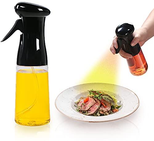 ASFINS Ölsprüher Flasche, Transparent Öl Sprayer Öl Sprühflasche Ölspender, zum Kochen BBQ Spray Backen Braten Grillen Salat Braten, 7oz/210ml, Schwarz