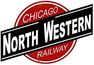 Garage Art Chicago Northwestern Logo Herald Reproduction Sign Tin Vintage Style Railroad Herald Signs