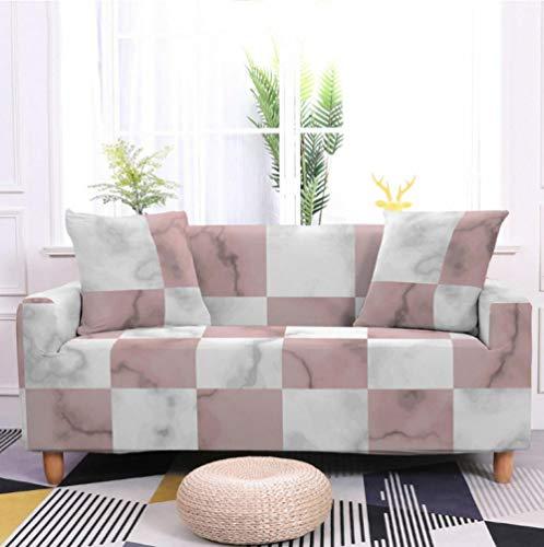 Protector de sofá con Tela Escocesa Rosa Blanca Estampado,Fundas de Sofá Elasticas de 2 Plazas,Poliéster Suave con Funda elástica,Antideslizante Protector Cubierta de Muebles