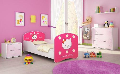 Kinderbett Jugendbett Komplett mit einer Schublade und Matratze Lattenrost Weiß ACMA I (160x80 cm, 16 Sweet Kitty 2)