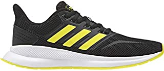 adidas Kid's Falcon Athletic Shoes, Core Black/Shock Yellow/Shock Yellow, 2 M US Little Kid
