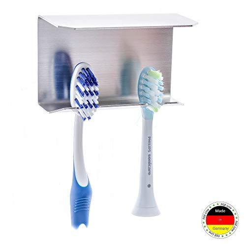 FGE-Line 2er Zahnbürstenhalter mit Ablage aus Edelstahl | selbstklebend & ohne Bohren | Made in Germany