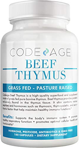 Codeage Glandular Thymus Extract, Grass Fed Natural Raw Thymus Supplement, Supports Immune, Histamine and Allergy Health, 3000mg per Servings, 180 Capsules