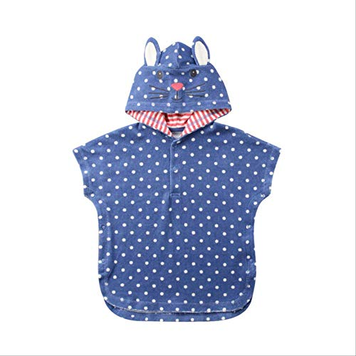 Toalla de baño con capucha para bebé Poncho suave unisex Piscina de natación Ropa de playa Albornoz para niños Toalla de dibujos animados Moda1-2 años Azul
