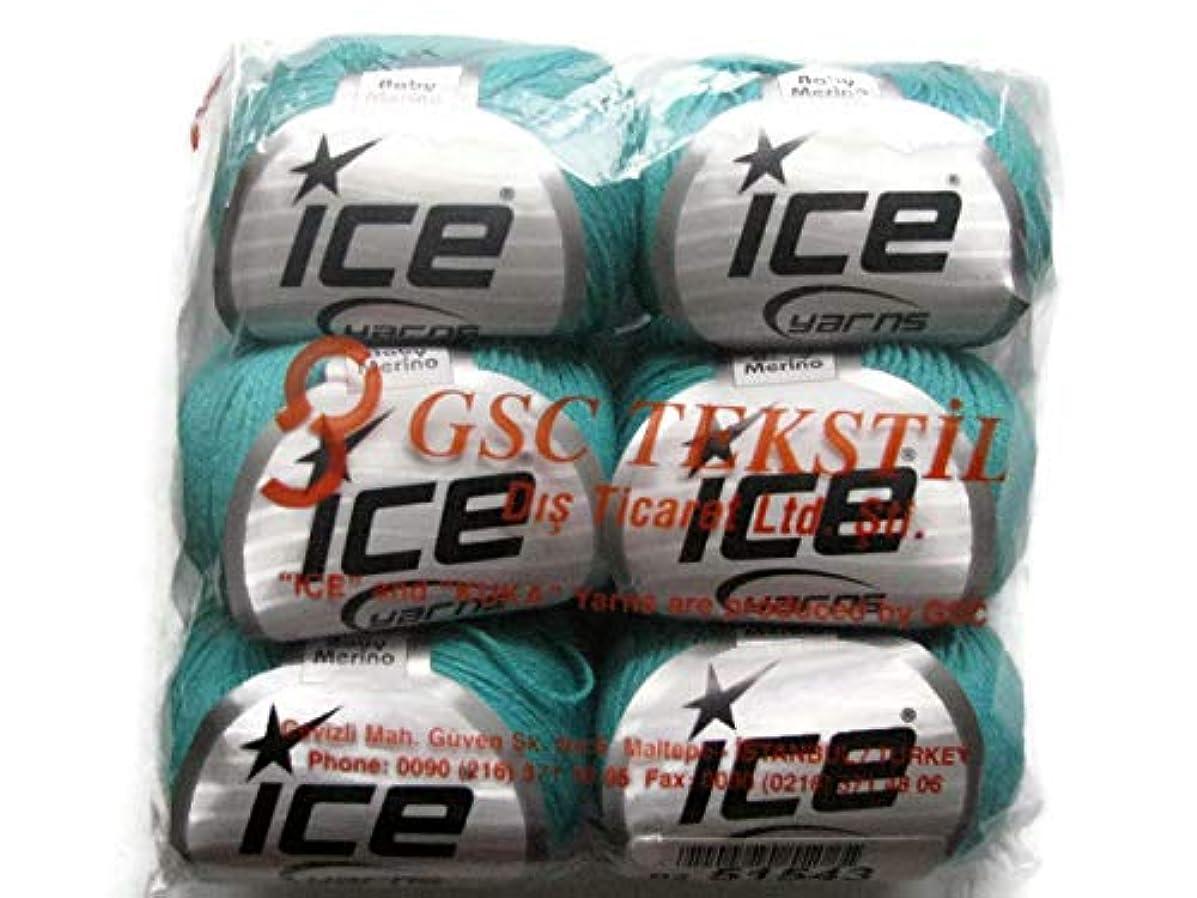 ICE Baby Merino Yarn, 1.76oz (50g), 6-Pack (Mint Green)