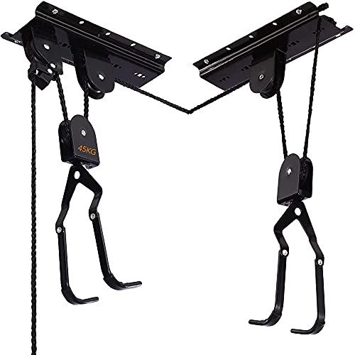 Fahrrad Deckenlift Traglast Fahrrad Bike Lift Aufhängung and der Decke, Schwarz Fahrradlift Universal mit Haken und Seilbremse für Fahrrad und E-Bikes geeignet