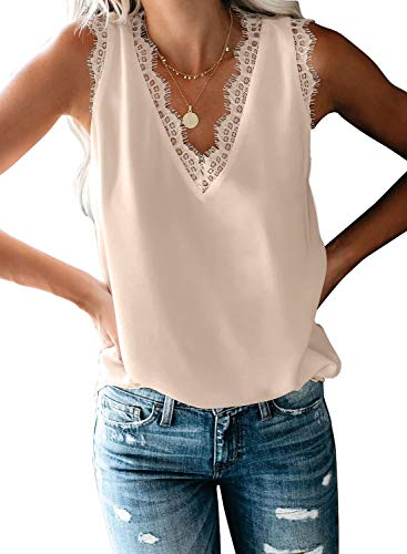 BLENCOT Womens Summer V Neck Lace Sleeveless Shirts Tops Soft Flowy Tank Tops Blouses Elegant Apricot S