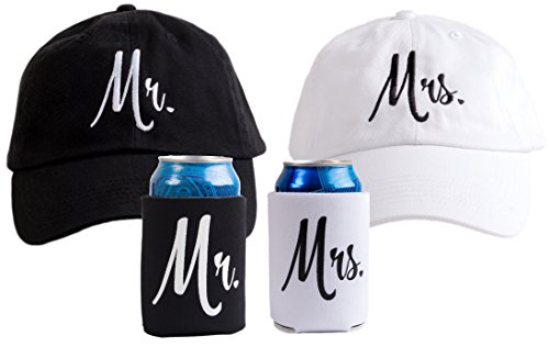 Mr. & Mrs. | Matching Newlywed Wedding Baseball Caps and Beer Holder (Coolie)