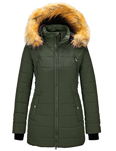 Wantdo Women's Quilted Snow Winter Coat Quilted Cotton Jacket with Hood Olive M
